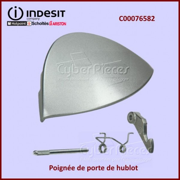 Poignée de hublot Argentée Indesit C00076583