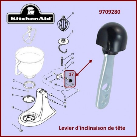 Levier d'inclinaison de tête Kitchenaid 9709280