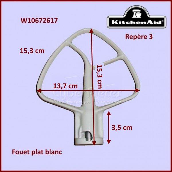 Mélangeur plat blanc K45B pour batteur Kitchenaid W10672617