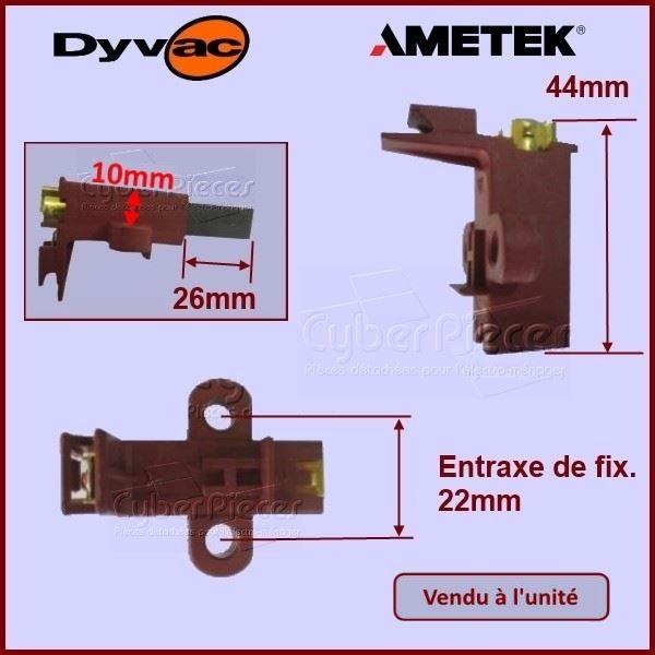 charbon avec support 26x11x6mm ametek dyvac pour aspirateur petit electromenager pieces. Black Bedroom Furniture Sets. Home Design Ideas