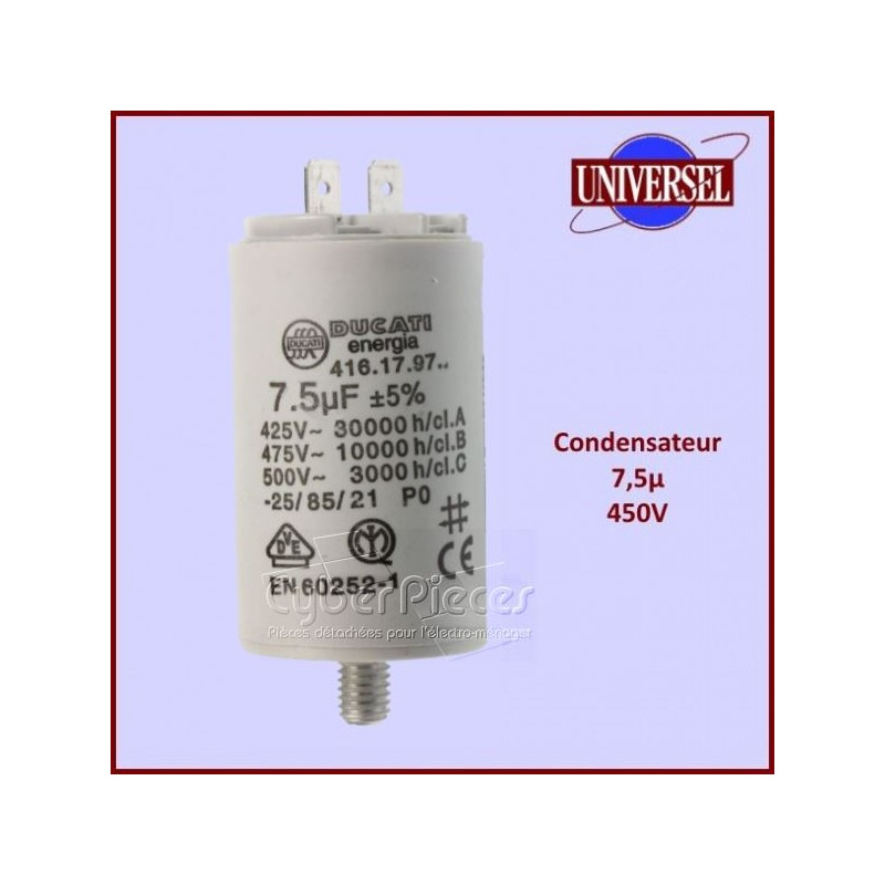 Condensateur 7,5µF (7,5MF) 450 Volts