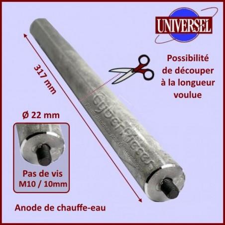 Anode de chauffe-eau 317mm - Diamètre 22mm - M10