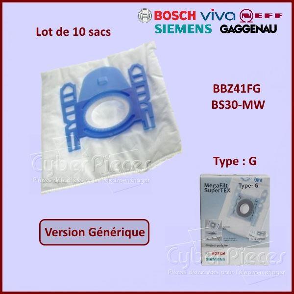 10 Sacs aspirateur BBZ41FG de Type G - Adaptable
