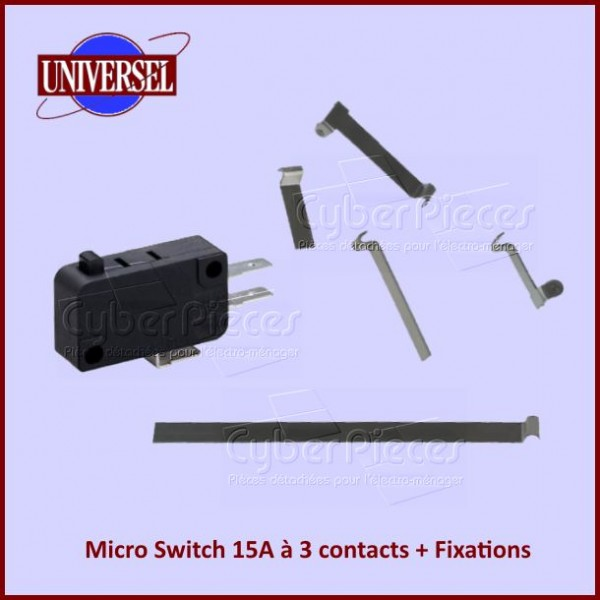 Micro Switch 15A à 3 contacts + Fixations