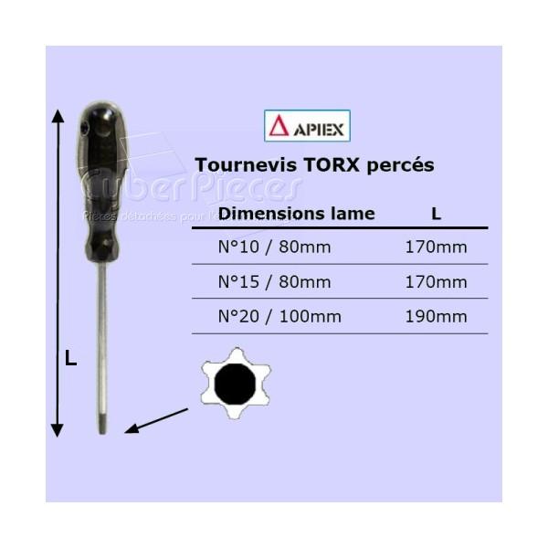 Tournevis Torx percé n°15 - lame 80mm APIEX