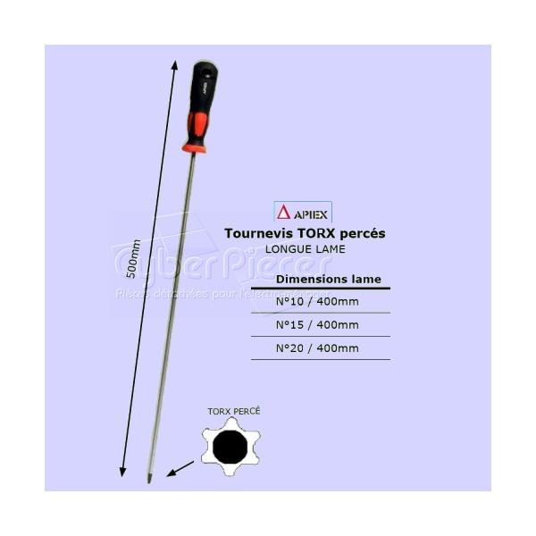 Tournevis Torx percé TT20 - longue lame 400mm APIEX