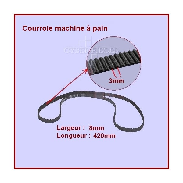 Courroie 420mm machine à pain HTD420-3M-8 CYB-036658
