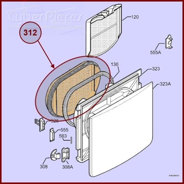 avant filtre joint 1254245408 nexus4 pour seche linge lavage pieces detachees electromenager. Black Bedroom Furniture Sets. Home Design Ideas