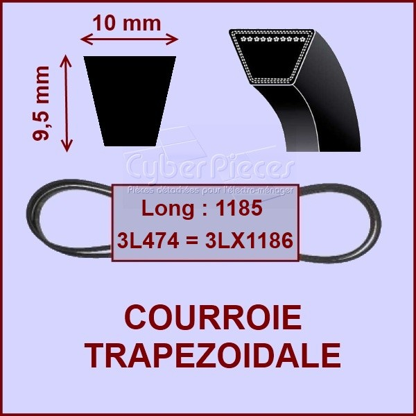 Courroie trapézoïdale - 10 X 9,5 X 1185 - 3L474 / 3LX1186