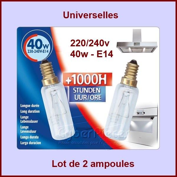Kit de 2 lampes 40W - E14 - L: 80mm T29 300°