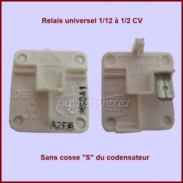 Relais compresseur standard 1/12 à 1/2 cv sans cosse S du condensateur