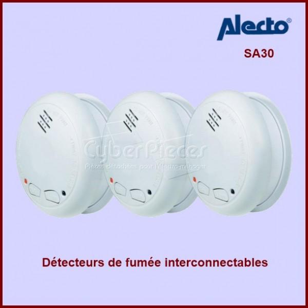 Lot de 3 détecteurs de fumée optique  sans fil interconnectables