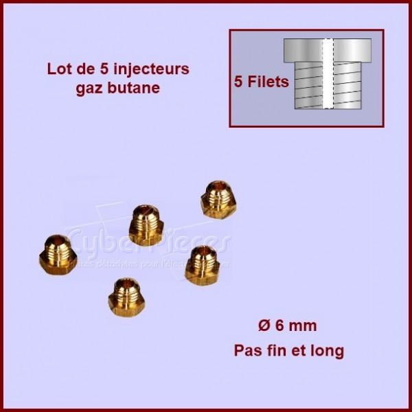 Jeu de 5 injecteurs standard pour gaz butane 6mm avec pas fin et long