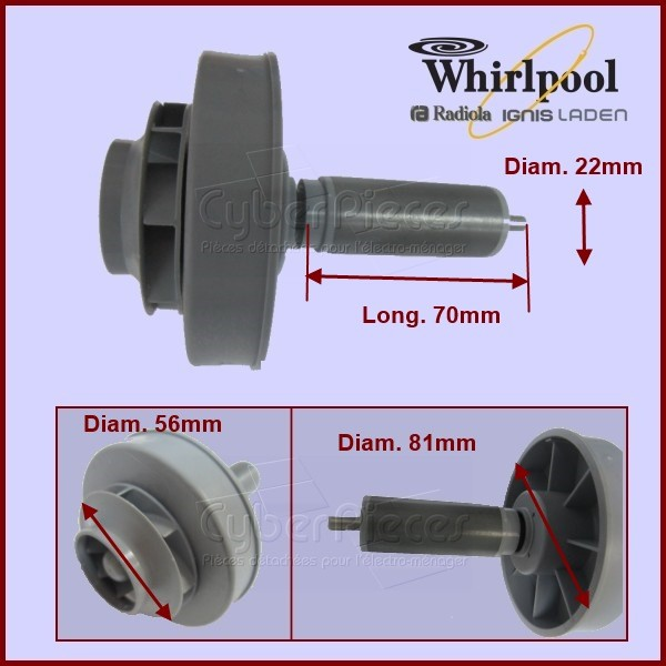 Axe Rotor aimanté pour Whirlpool 480140103009