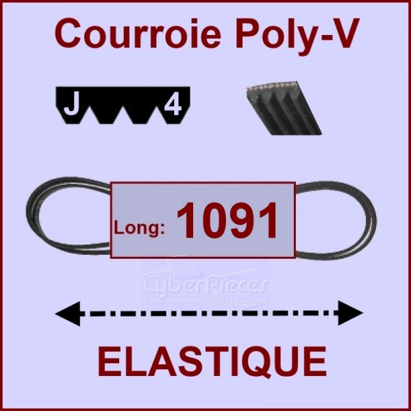 Courroie 1091J4 - EL- élastique