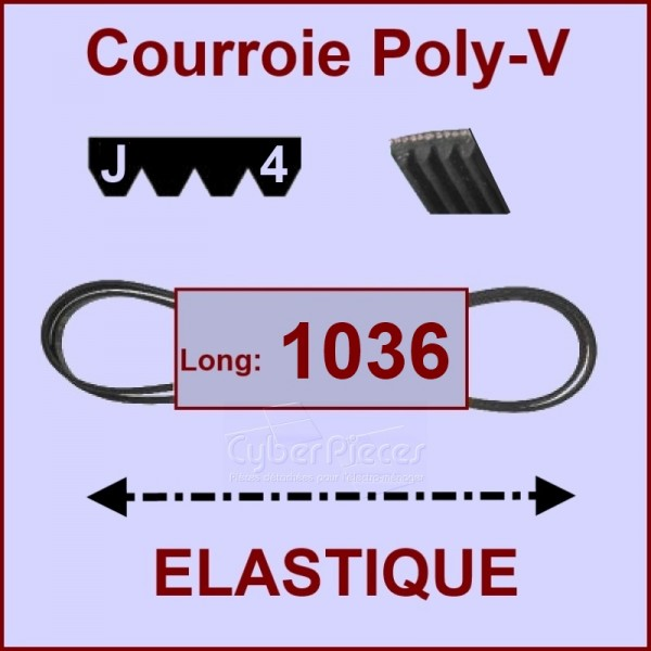Courroie 1036J4 - EL- élastique
