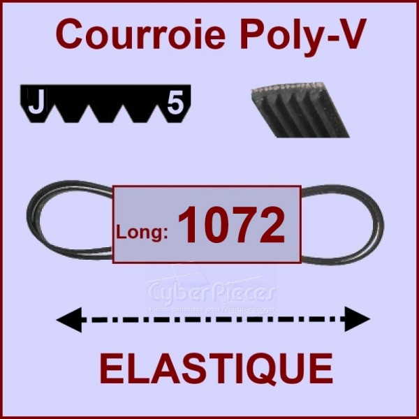 Courroie 1072J5 - EL- élastique