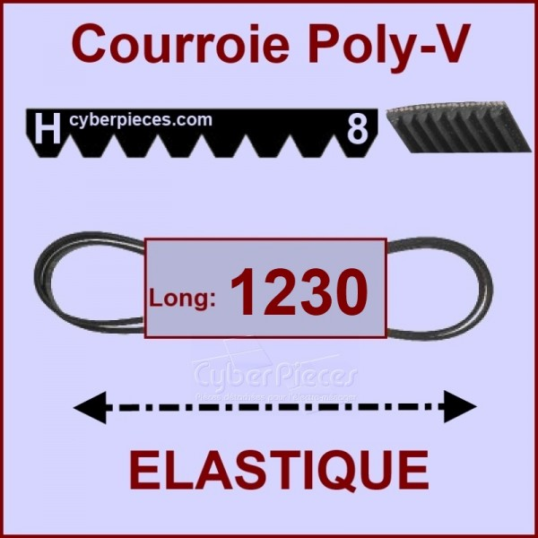 Courroie 1230H8 - EL- élastique