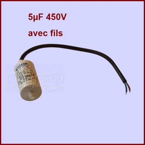 Condensateur 5.0µF (5.0MF) 450 Volts A Fils