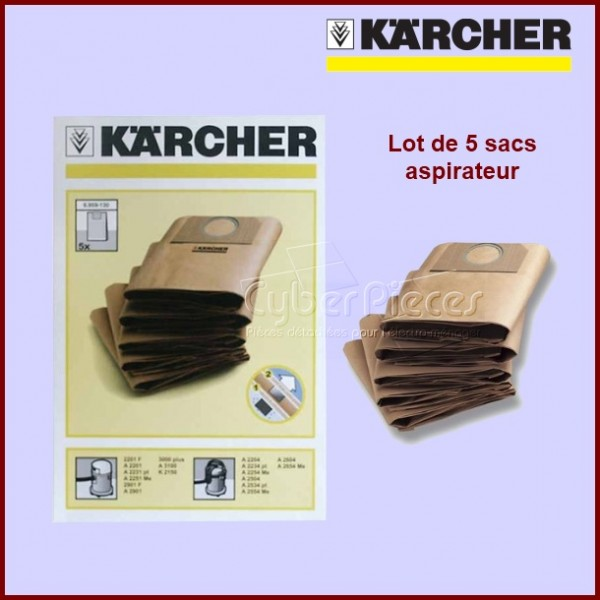 Lot de 5 sacs aspirateur Kärcher 69591300 Version d'origine
