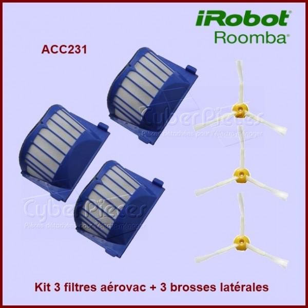 Kit de 3 filtres Aérovac + 3 brosses latérales pour Irobot ROOMBA - ACC231