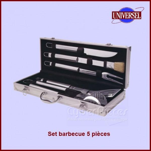 Valise de 5 ustensiles en inox pour barbecue