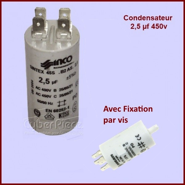 Condensateur 2,5µF (2,5MF) 450V