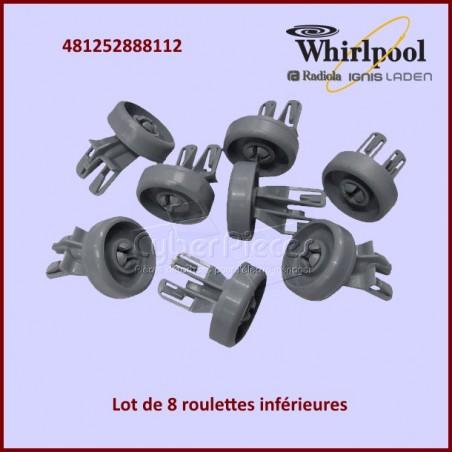 Lot de 8 roulettes de panier inférieur Whirlpool 481252888112