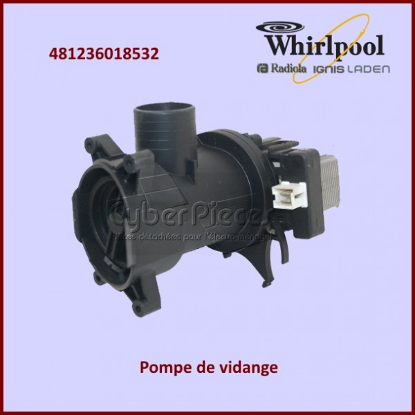 pompe de vidange whirlpool 481236018532 pour pompe de vidange machine a laver lavage pieces. Black Bedroom Furniture Sets. Home Design Ideas