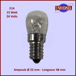 Ampoule 15w E14 / 24 volts / 22x48 mm CYB-238144