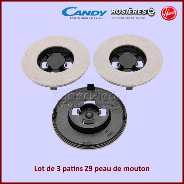 Lot de 3 patins Z9 peau de mouton Hoover 09026163***épuisé***