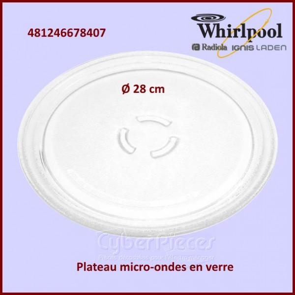 plateau en verre micro onde whirlpool 481246678407 pour micro ondes cuisson pieces detachees. Black Bedroom Furniture Sets. Home Design Ideas