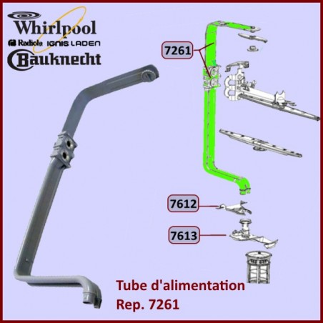 Tube alimentation bras supérieur Whirlpool 481253029331