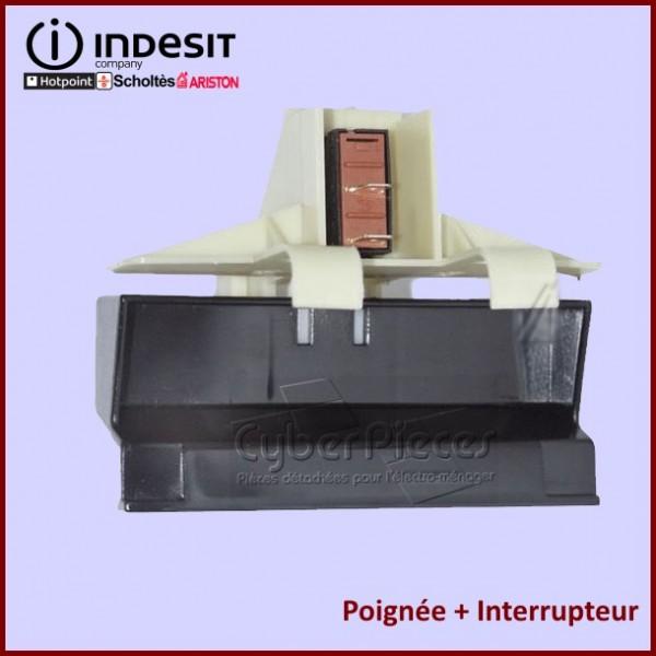 Kit Poignée Noire Complète + Interrupteur Indesit C00039361