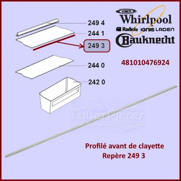 Profilé avant de clayette Whirlpool 481010476924