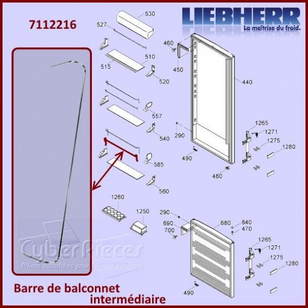 Barre Intermédiaire du Balconnet Liebherr 7112216