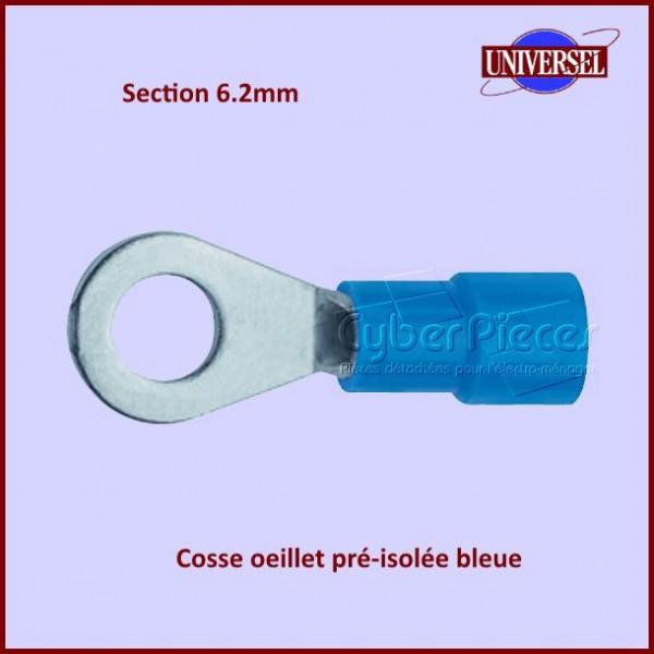 Cosse oeillet pré-isolée bleue - Section 6.2mm