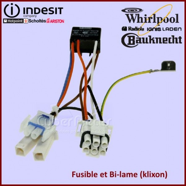 Thermostat Bi-metal + Fusible + Faisceau complet 481232058132