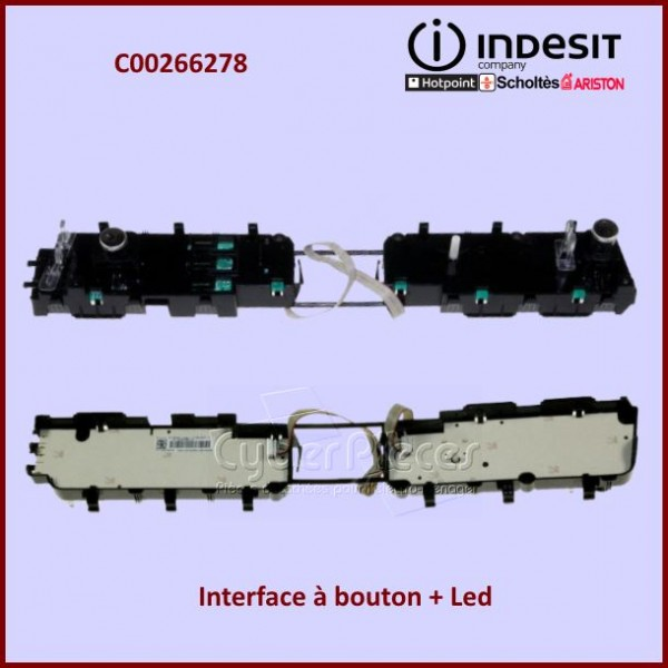 Interface à bouton + Led (inox) Indesit C00266278