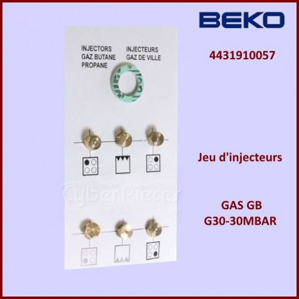 Jeu d'injecteurs GAS G30-30Mbar Beko 4431910057