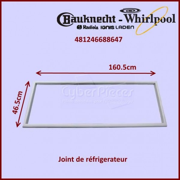 joint magn tique de porte whirlpool 481246688647 pour joints refrigerateurs et congelateurs. Black Bedroom Furniture Sets. Home Design Ideas