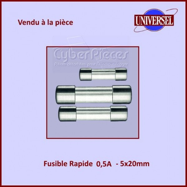 Fusible 0.5A Rapide 5x20mm en verre