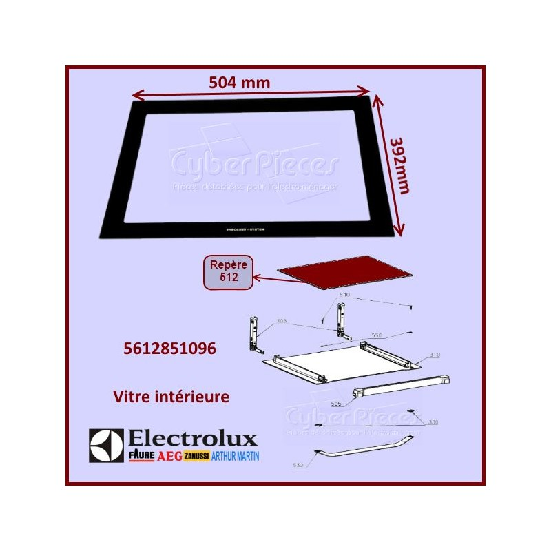 Vitre intérieure 504X392mm Electrolux  5612851096