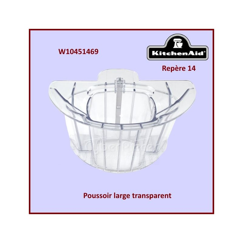 Poussoir large transparent  Kitchenaid W10451469