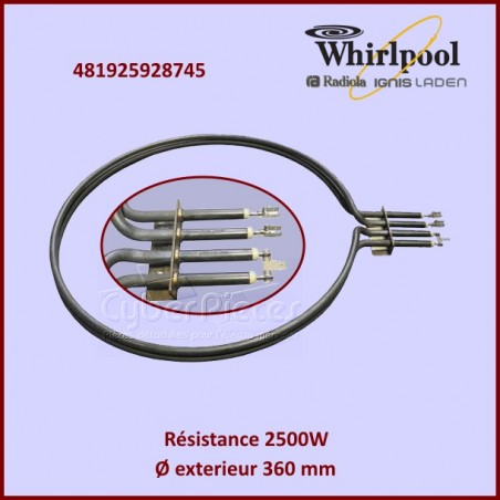 Résistance 2500w / 230v  Whirlpool 481925928745