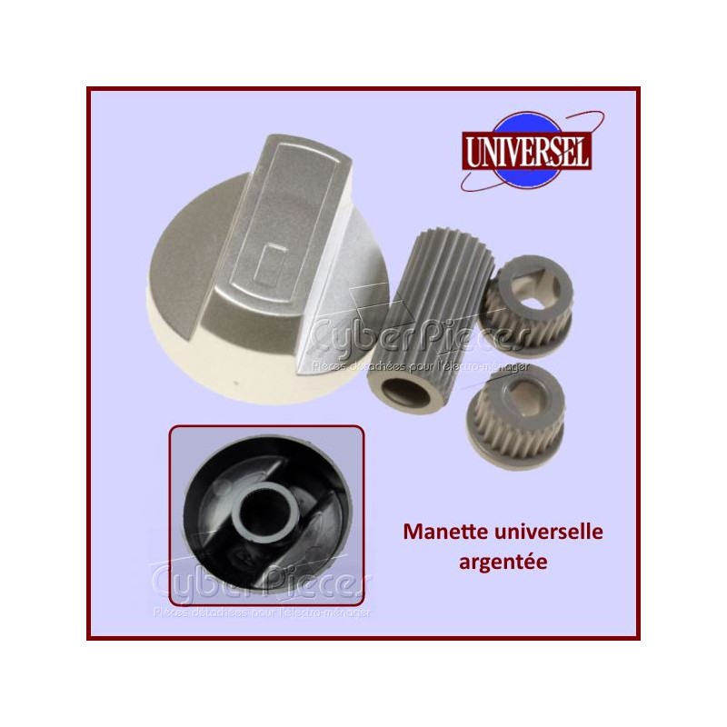 Manettes Argentées diamètre 40mm + Embouts Universel 6 et 8 mm