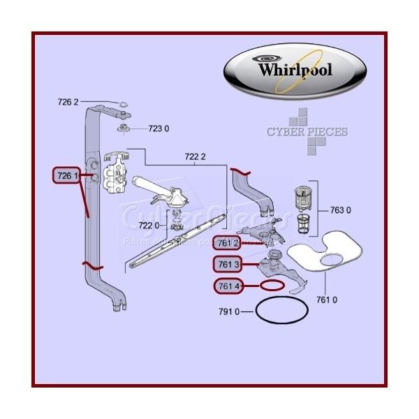 Raccord de tube avec 2 joints whirlpool 481253029431 pour for Raccord eau lave vaisselle