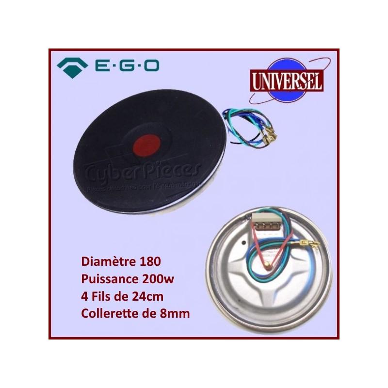 Foyer Fonte Plaque D.180MM 2000W Avec Fils (24CM) et Collerette 8MM