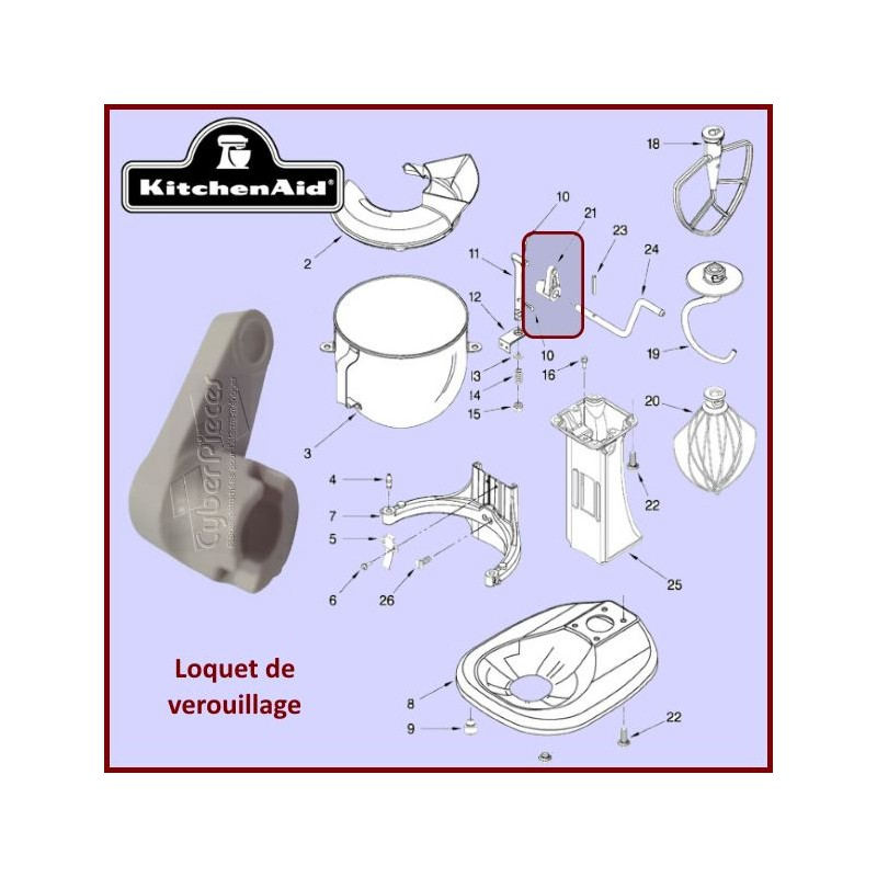 Bras de verrouillage de bol Kitchenaid 241764