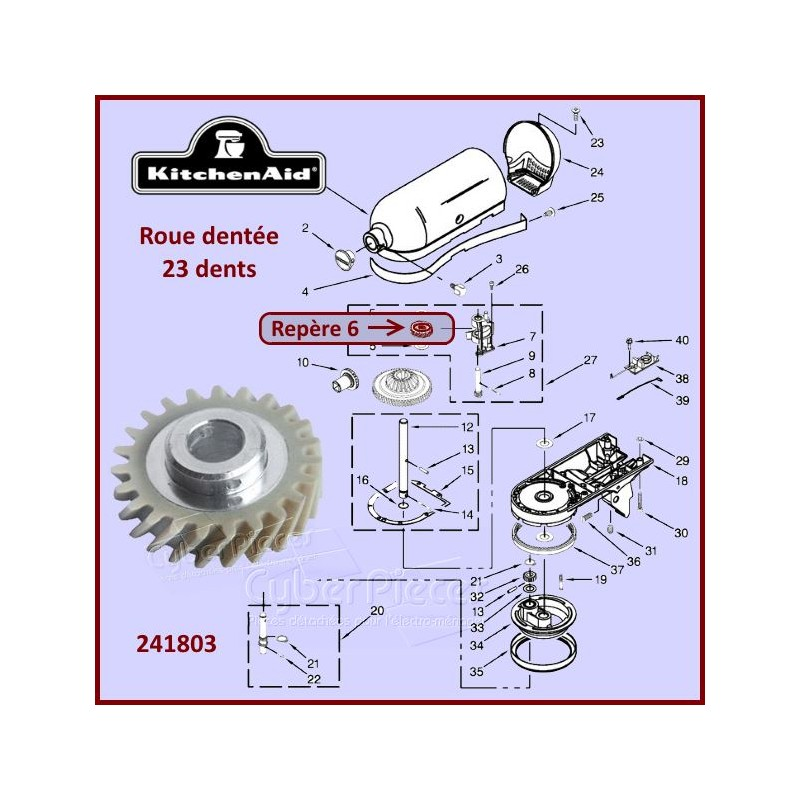 Roue Dentée 23 dents Kitchenaid 241803
